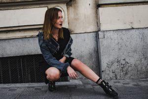Robe noire veste en jean